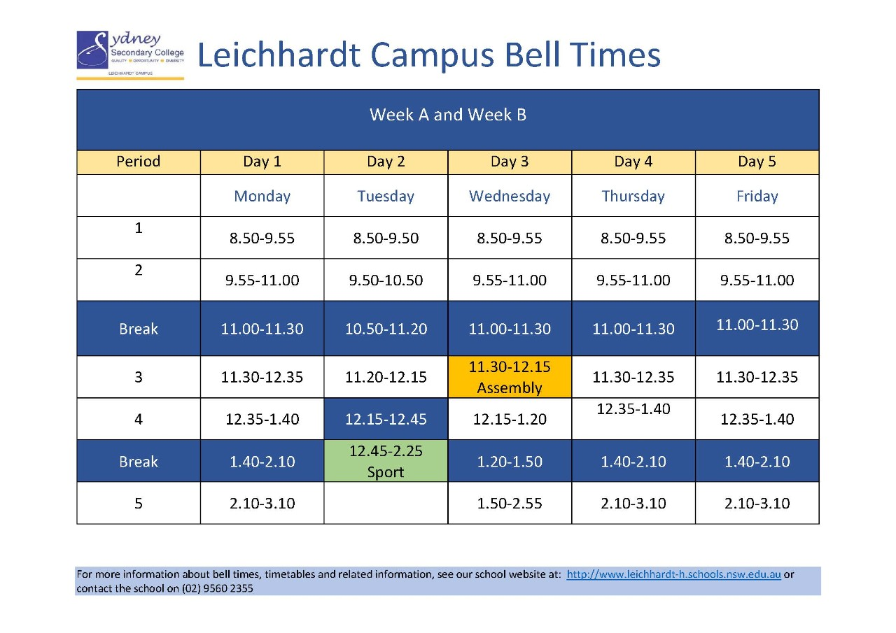 Leichhardt Campus bell times